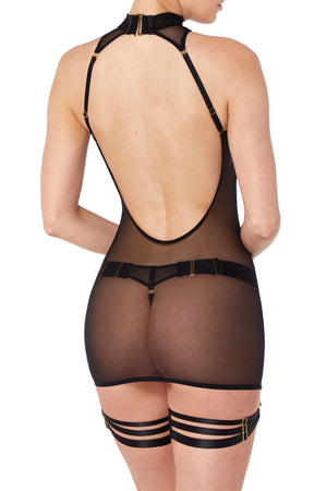 Bordelle Merida mini slip dress, Merida thong and Merida multi strap garters black - back