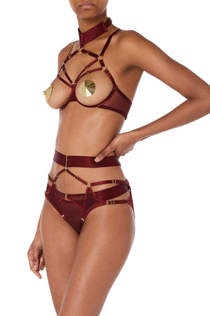 Bordelle Merida ouvert wire bra and Merida Thong burgundy adjustable collar open cup morello - side
