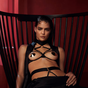 Bordelle Merida ouvert wire bra with harness brief - black