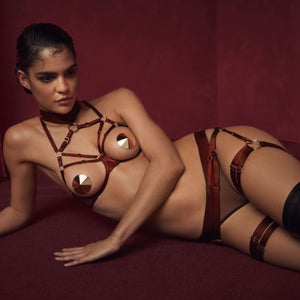 Bordelle Meride ouvert wire bra with suspender brief and multi strap garters and gold nipplets - morello burgundy