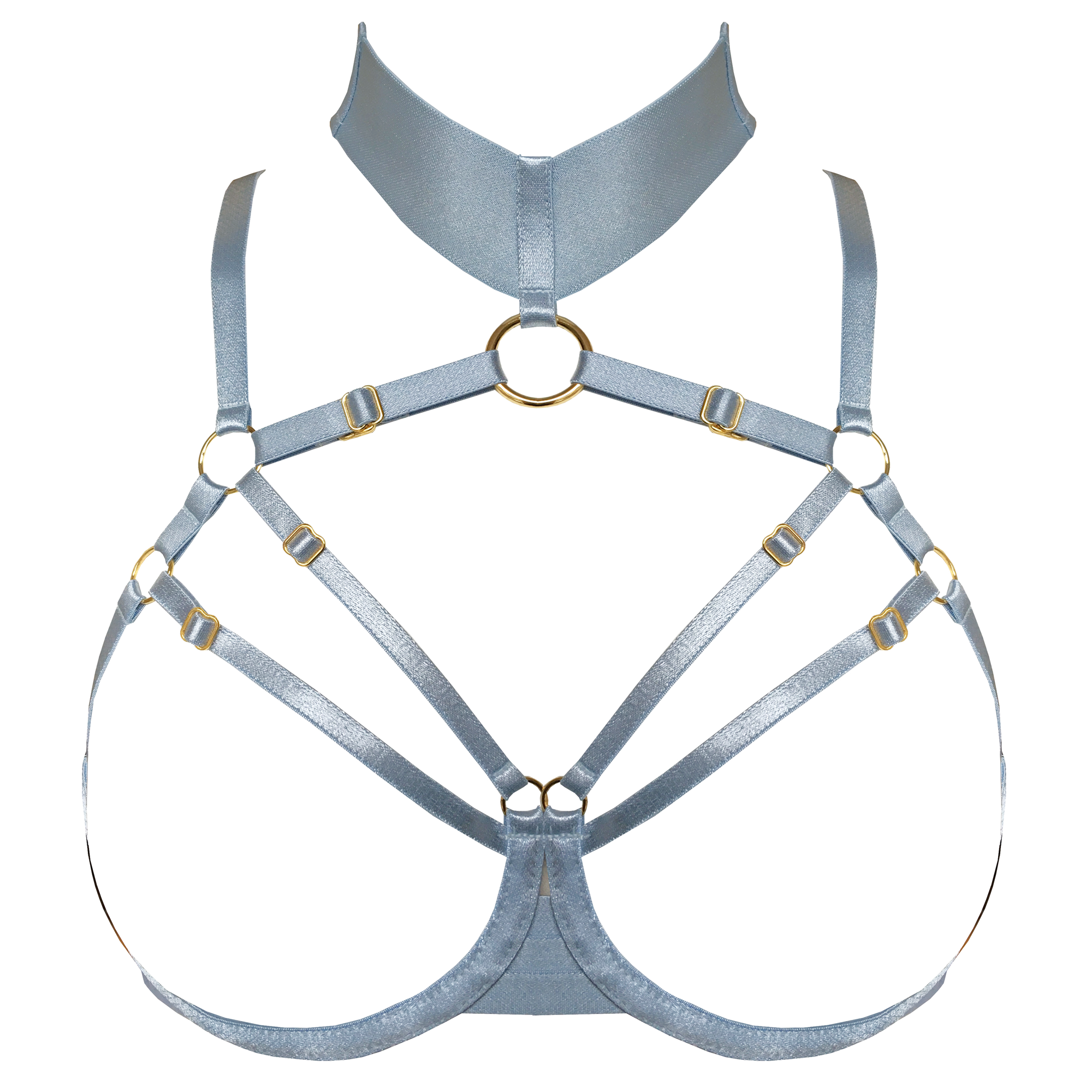 Merida ouvert wire bra by Bordelle - dusty blue silver  luxury lingerie