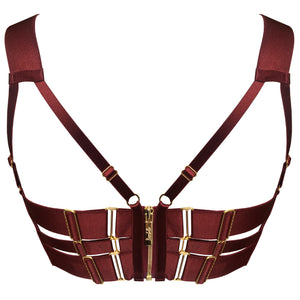 Merida panel bodice bra by Bordelle -burgundy luxury lingerie