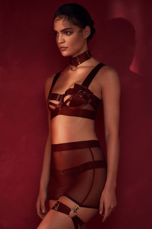 Bordelle Merida Panel Bodice Bra with skirt and thong  and bondage collar choker and garter - morello burgundy