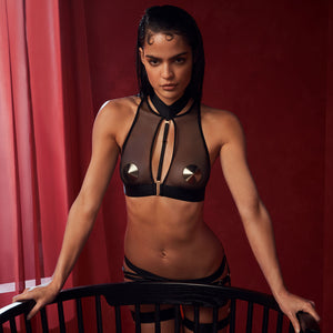 Bordelle Merida soft collar crop top choker with suspender brief and ring garter - black