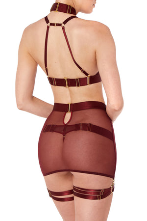 Bordelle Merida Multi Strap Garters and Merida Soft Collar Crop Top and Merida Thong and Merida Skirt o ring webbed leg straps burgundy