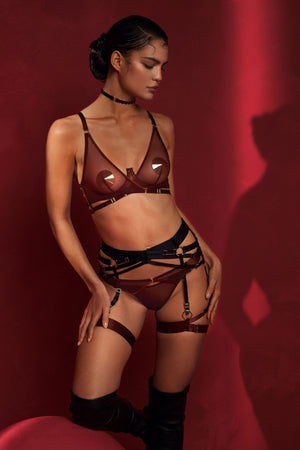 Bordelle Merida wrap wire bra and thong with ring garters - morello burgundy
