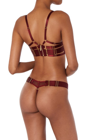 Bordelle Merida wrap wire bra and Merida thong burgundy