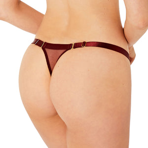 Bordelle Merida strap thong in morello exclusive design for botanica and kew collection pairing - back