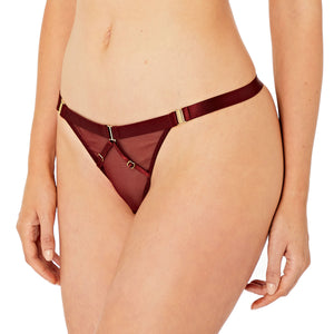 Bordelle Merida strap thong in morello red exclusive for kew and botanica - side