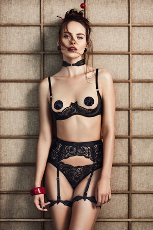 Bordelle Nami Guipure thong,open bra and suspender