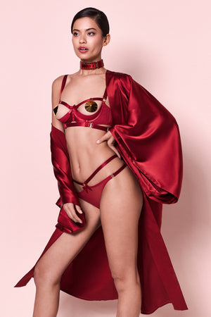 Bordelle Harness thong, Gia shelf bra in red and 24K gold nipplets