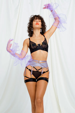 Rey suspender and Rey bodice bra and brief by Bordelle tundra