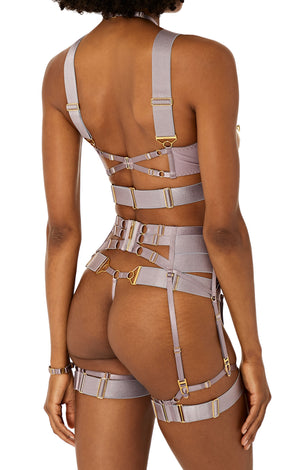 Rey suspender with Rey ouvert wire bra and Rey thong by Bordelle tundra satin elastic