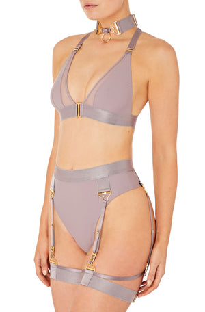 Rey high waist thong with Rey triangle bra by Bordelle tundra gstring