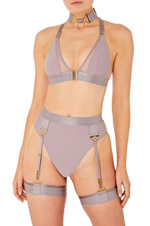 Rey high waist thong with Rey triangle bra by Bordelle tundra