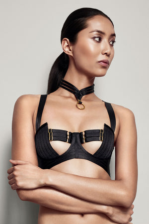 Bordelle Asobi collar and Tomoe bodice bra