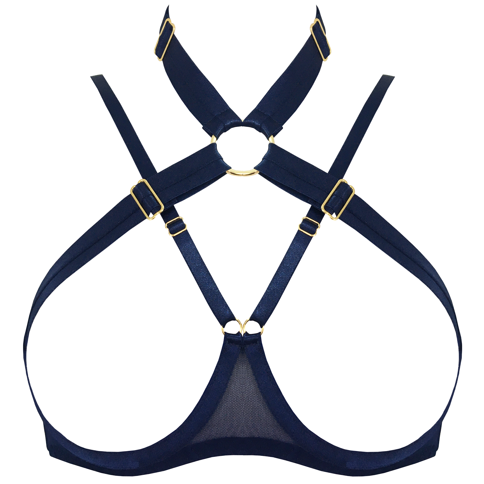 Tomoe ouvert wire bra by Bordelle navy blue