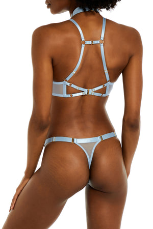 Exclusive strap thong by Bordelle - dusty blue