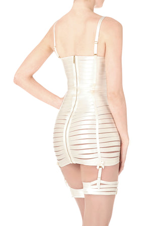 Bordelle Angela dress and Bondage webbed garters in cream
