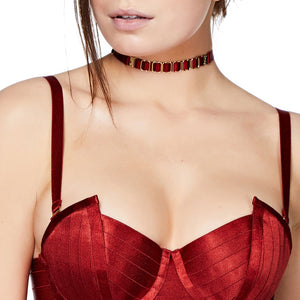 Bordelle strap collar with Angela dress - burnt red