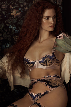Bordelle wilde balconette wire bra, ouvert high waist brief & strap thong - navy & rose