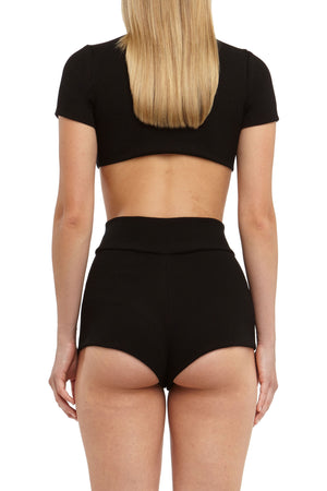 DSTM Chiron ribbed crop top and mini shorts - back