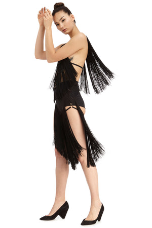 DSTM Lota fringe chaps and Lota fringe top movement statement lingerie- side
