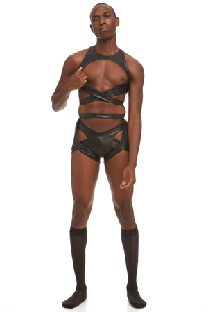 Maya mens' brief harness by DSTM - vegan leather