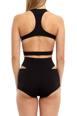DSTM Maya mini short and sports bra black swim lingerie signature collection - back view