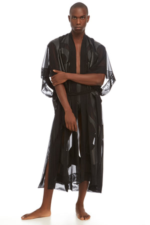 DSTM Phoenix robe in vegan leather and mesh