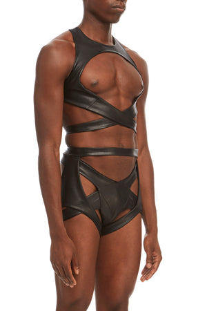 DSTM Maya mens suspender harness, Maya mens chest harness and Maya mens thong in vegan leather - side