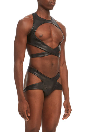 DSTM Maya mens harness and thong in vegan leather - side