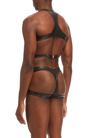 DSTM Maya mens harness and thong in vegan leather - side back