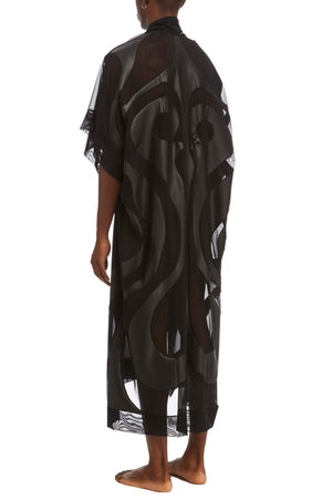 DSTM Phoenix mens leather and mesh robe - side back