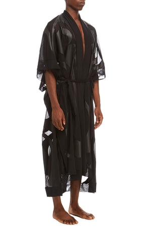 DSTM Phoenix mens leather and mesh robe - side