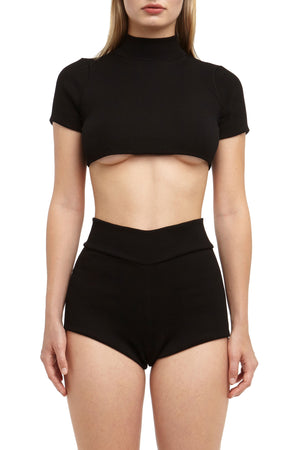 DSTM Chiron ribbed crop top and mini shorts
