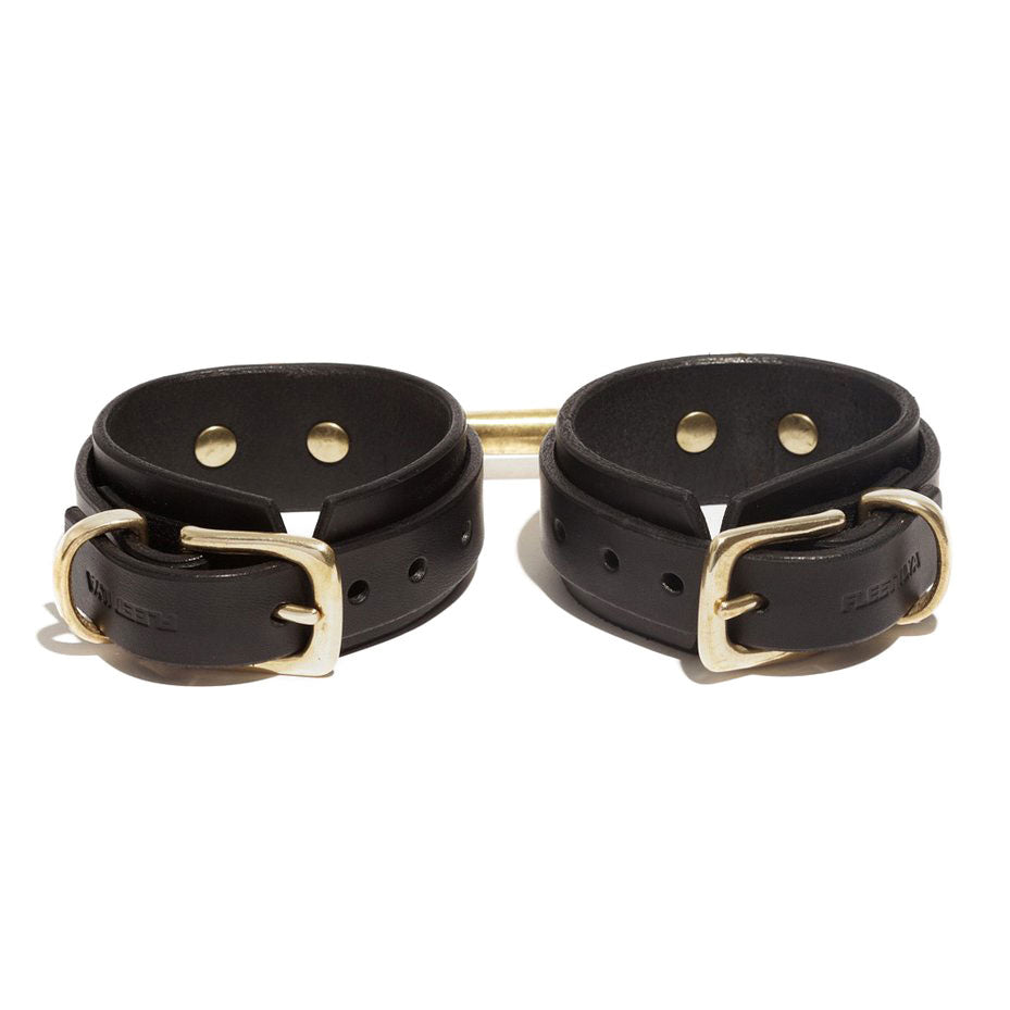 Fleet Ilya wing wrist cuffs black leather & brass