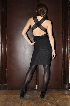 DSTM Jung slip dress and Axon suspender tights - back