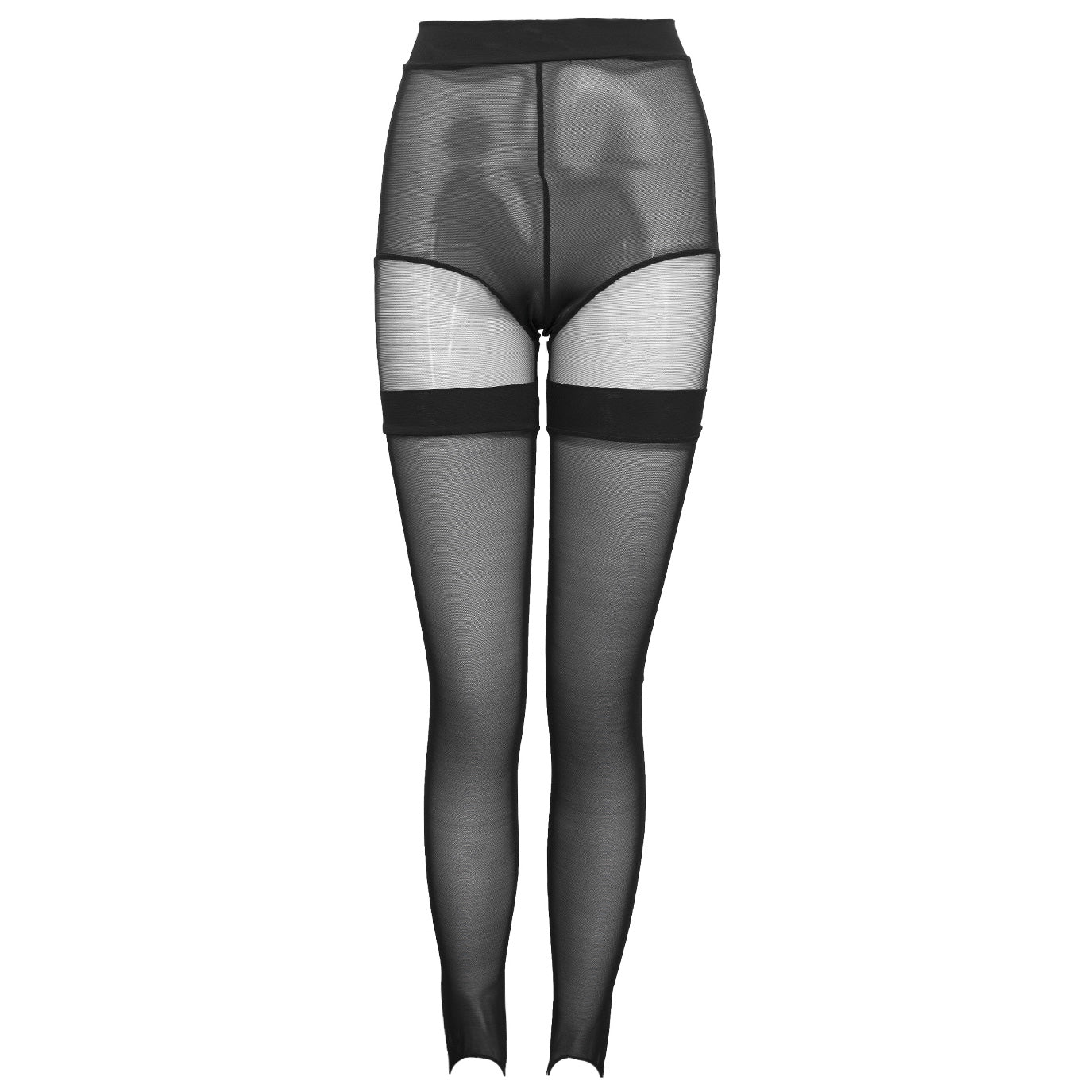 MURMUR stirrup leggings black sheer hold up tights with panelled mesh