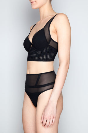 Opaak Laura high waisted thong and Celine bodice bra perforated neoprene ethical eco lingerie black sheer panelled - side view