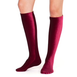 Simone Wild Velvet knee highs in wine