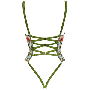 Cerelia harness quarter cup basque by Studio Pia bodysuit back