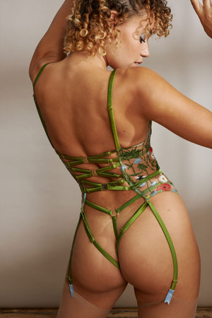 Cerelia harness quarter cup Basque and Cerelia Strap Thong by Studio Pia back