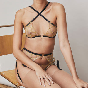Studio Pia jalsa plunge bra with strap thong and harness suspender