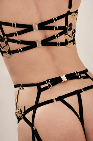 Studio Pia Soraya thong, Soraya longline bra and Soraya suspender ouvert black eco peace silk gold plated hardware cut out peep gstring - lookbook