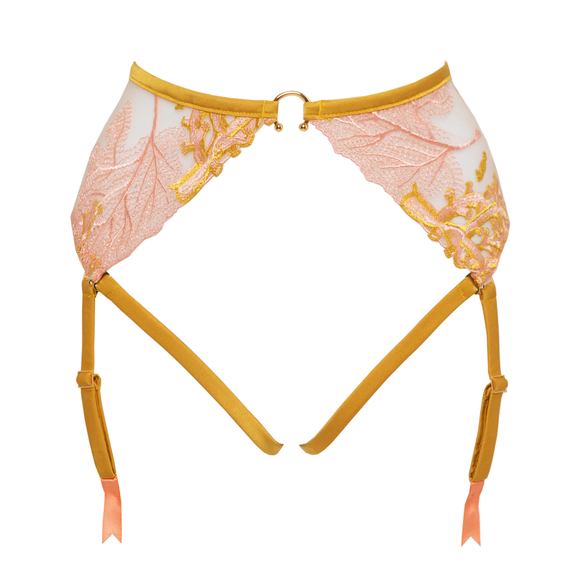 Studio Pia naida harness suspender bum and suspender strap coral yellow front