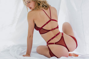 Myth high thong with longline bralette and longline suspender by Tisja Damen - Bordeaux burgundy sheer mesh ethical lingerie