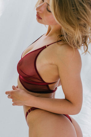 Tisja Damen Myth Longline bra with high thong- Bordeaux burgundy sheer mesh eco lingerie top