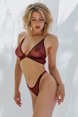 Tisja Damen Myth Longline bra and high thong - Bordeaux burgundy sheer mesh ethical lingerie top