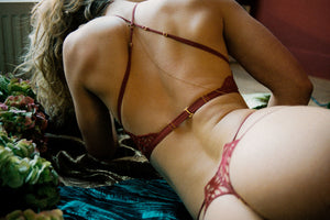 Sphinx thong by Tisja Damen - Bordeaux burgundy embroidered sheer lace gstring